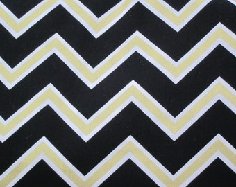 Car Seat Canopy / Cover - Fitted - Black White Gold Chevron with your choice of piping color