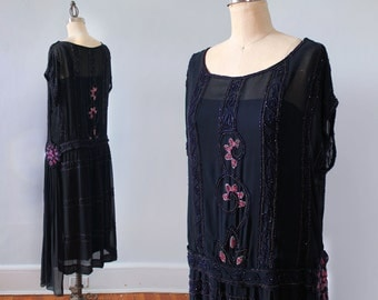 RESERVED 1920s Dress / 20s BEADED Flapper Dress / Hip Medallion / Sheer Chiffon with Underdress AMAZING