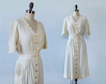 1940s Dress / White 40s Crochet Pocket Dress / Jigsaw Neckline