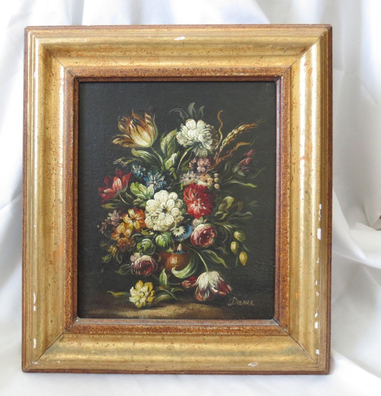Antique Floral Oil Painting Framed Original Signed Dama