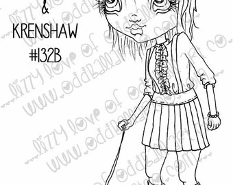 INSTANT DOWNLOAD Digi Stamp Digital Image Creepy Cute Big Eye Girl N her Undead Caterpillar Friend Image No.132 & 132B by Lizzy Love