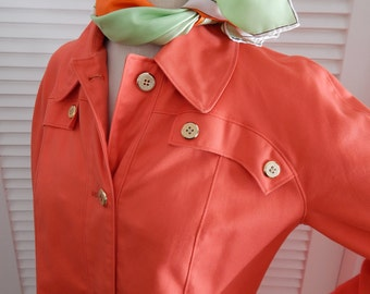 Vintage 1970's Orange Coat. Rain Coat. Large Patch Pockets. Misty Harbor Any Weather Coat.