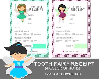 Tooth Fairy Receipt - 4 Colors - Printable