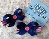 Navy and Pink Mini Twist Hair Bow Set-No Slip Haiir Clips-Infant Toddler Hair Clips-Pigtails