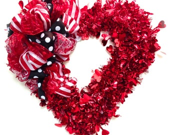 """Valentines Day Wreath Red w/ LARGE Custom Designed Bow ( Approx. 15"""") Indoor or Outdoor"""