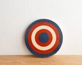 Target Circle Art Block -  Blue/Red/White - bull's eye, vintage look, colorway #8