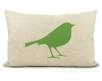 12x18 or 16x16 bird decorative pillow, throw cushion cover | Green, beige and geometric ogee accent bird pillow case | Modern home decor