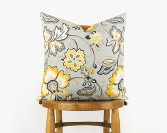 Botanical outdoor pillow case in sunny yellow, grey, mint, taupe & white / 18x18, 45x45 cm floral cushion cover / Patio and Garden decor