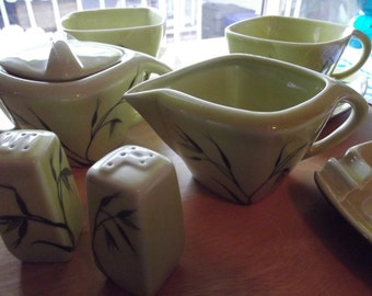 Set of Vintage American Winfield China Oats Pattern Chartreuse - 2 Cups and saucers - Creamer, Sugar Bowl and salt and pepper shakers