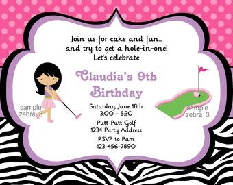 Mini Golf Invitation - Zebra Print - Putt Putt Miniature Golf Birthday Party Invite - Digital JPEG File #3