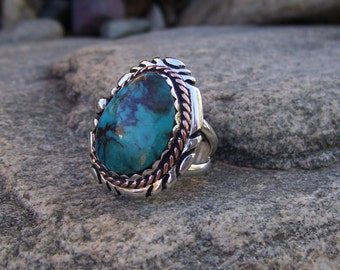 Kingman Turquoise Silver Copper Ring Size 7 1/2