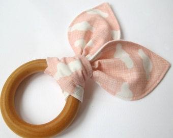 Wooden Teething Ring - Pink Cloud Fabric - Moda - Baby Girl Teething Ring