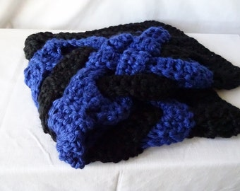 Celtic Knot Afghan, Chunky Handmade Baby Blanket, Black and Royal Blue, Machine Washable, Ready to Ship, Blankie, Afghan, Throw, Modern