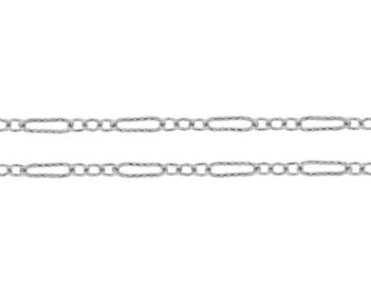 Sterling Silver 5.7x2mm Long and Short  Flat Corrugated links Cable Chain - 5ft (2389-5)