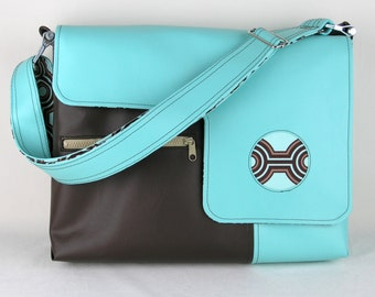 SALE! Vegan Laptop Bag in Turquoise and Brown, faux leather laptop bag