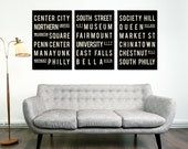 SALE, Philadelphia, Subway Sign, Typography Art, Philly, City Poster, Home Decor, Christmas Gift, Anniversary Gift, Wedding Gift, House Gift