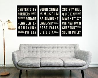 Philadelphia, Subway Sign, Typography Art, Philly, City Poster, Home Decor, Christmas Gift, Anniversary Gift, Wedding Gift, House Gift
