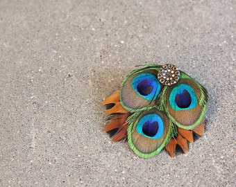 Orange, Green, and Blue Feather Hair Clip with Sparkly Vintage Button for Formal or Casual Wear, Great for Party Outfits