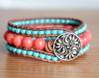 Coral Jade Bohemian leather bracelet, southwestern cuff, coral, pink, turquoise, wrap, cuff, boho jewelry, Small Medium wrist, Custom made