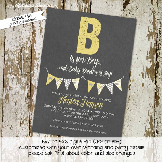 elephant baby shower invitation b is for boy sprinkle gender reveal neutral baptism coed diaper couples (item 1256) shabby chic invitations