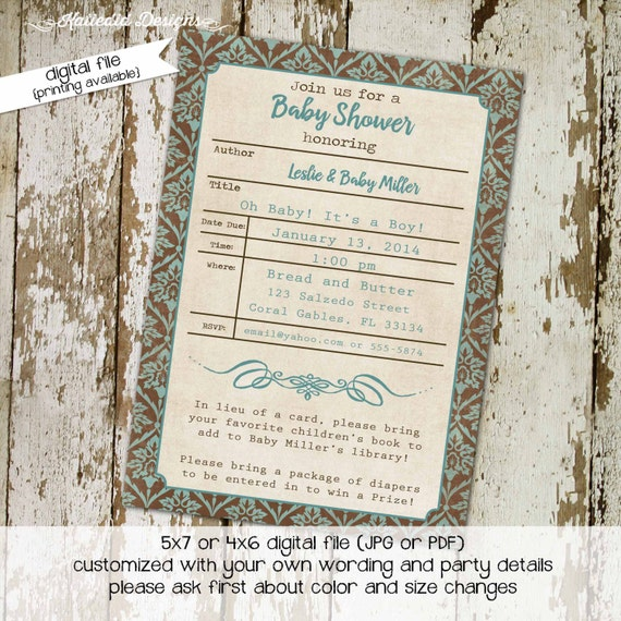 bring a book baby shower invitation library card invitation card baby boy shower damask (item 12109) shabby chic baby shower invites