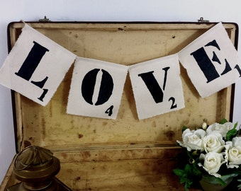 Love bunting, banner, rustic bunting, scrabble bunting, scrabble tiles, personalized