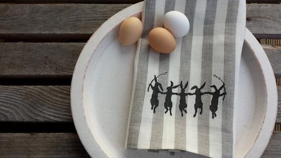 Dancing bunnies towel,Linen tea towel,striped towel,spring towel, easter towel, hostess gift, handmade tea towel, printed towel,