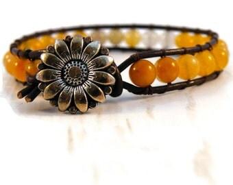Boho Sunflower Yellow Beaded Leather Wrap Bracelet/ Boho Blonde Sunflower Chic/Ready to Ship
