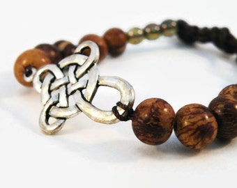 Celtic Cut Out Side Cross Bracelet with Brown Acai Beads and Silver Celtic Button/ Side Cross/ Boho Chic/ Ready to Ship/ Cowgirl Chic/