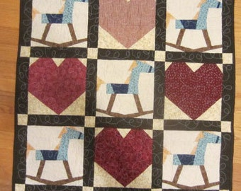 Rocking Horse Quilt, Hearts and Toy Rocking Horses, 100% Cotton