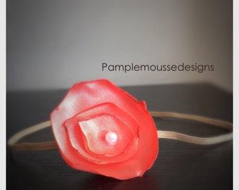 Satin coral flower headband  skinny elastic . Pearl.
