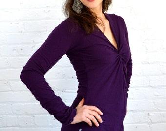 Large Longsleeve Twist Front Shirt in Plum Purple