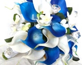 Reserved Blue and white real touch cascading calla lily bouquet with silk stephanotis bridal bouquet and boutonniere set