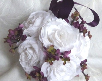 White rose and plum lilac kissing ball rose pomander wedding flower ball