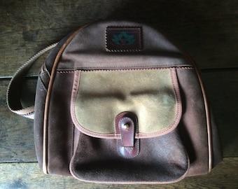 Vintage French Sylvain Lefebvre brown suede travel shoulder bag rucksack circa 1980's / English Shop