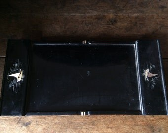 Antique Japanese damaged wood black lacquer tea serving tray with ivory inlay circa 1910's / English Shop