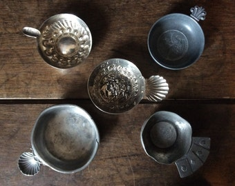 Vintage French pewter and silver coloured metal wine tasting cups brewery vineyard collection lot circa 1930-50's / English Shop