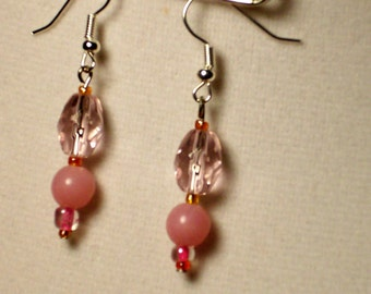 small pink glass and stone bead single dangle earrings
