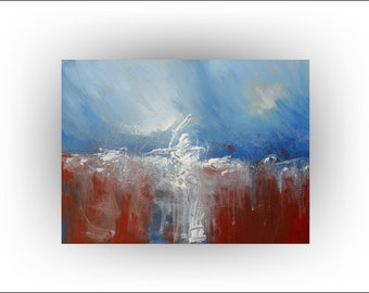 "Skye Taylor Abstract Original Painting Art Brown and Blue Painting Canvas,""The Thrill Seeker""...40 x 30, ready to hang"