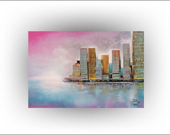 City Mist - Cityscape Painting Skyline Pink Teal  sunset Original painting Acrylic on Canvas - 36 x 24 - Skye Taylor...Ready to hang