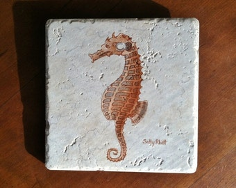 Sea Horse Backsplash Tile 6 Inch