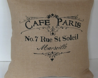 "One (1) Beige Burlap French ""Cafe Paris No. 7 Rue St Soleil"" Pillow Cover Made to Fit  18"" x 18"" Pillow"