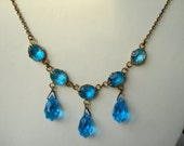 Art Deco Gold Tone Necklace Turquoise Rhinestones and beads 1920's 1930's
