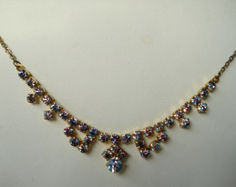 Art Deco Necklace Iris or Rainbow Rhinestones  1930's
