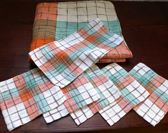 Vintage 1950s Linen Tablecloth and 6 Napkins - Great Colors