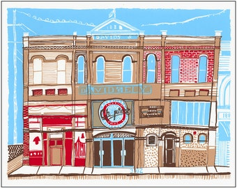 Screenprint of Champion's Bar and Grill / David's Department Store on Main Street in Moscow, ID