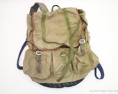 Vintage Army Green Canvas Backpack Rucksack Washed Out 70s
