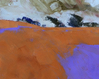 Original abstract minimalist landscape painting - Storm over purple moor