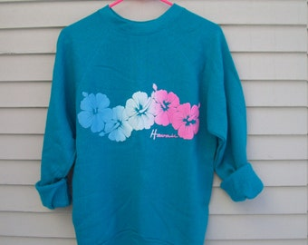 80s Vintage Teal Hawaii Puff Paint Sweatshirt