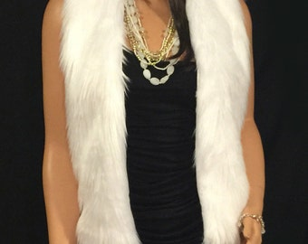 Faux Fur Vest Hip Length In White Angora  Style: FVA500